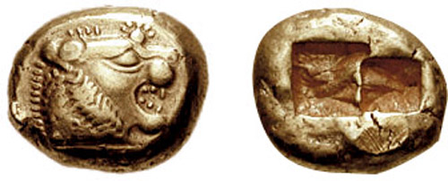 Lydian electrum coin (early 6th century BCE)